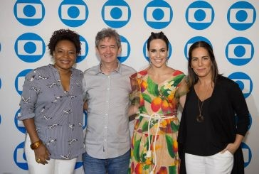 Glória Pires e Serginho Groisman na coletiva de imprensa do Brazilian International Press Awards